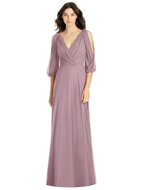 Jenny Packham Style JP1020 - Lux Chiffon - Bell sleeve and draped v-neckline and v-back