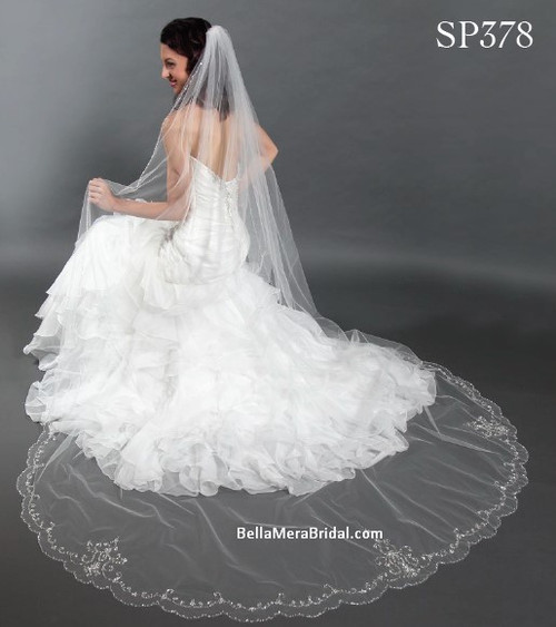"""Giselle Bridal Veil Style SP378 - Scallop Beaded Floral Design - 108"""" Long"""