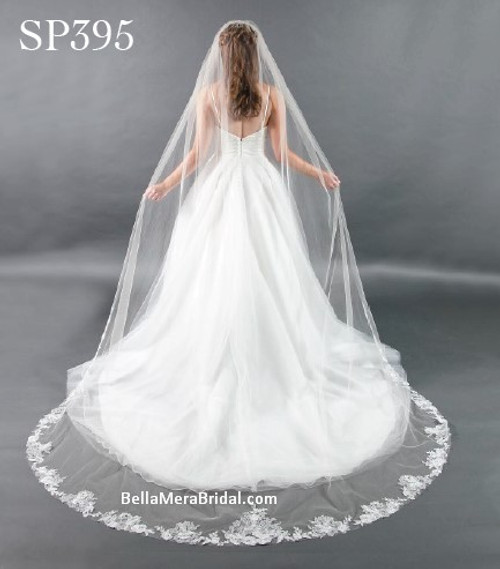 """Giselle Bridal Veil Style SP395 - Sequin Beaded Lace - 108"""" Long"""