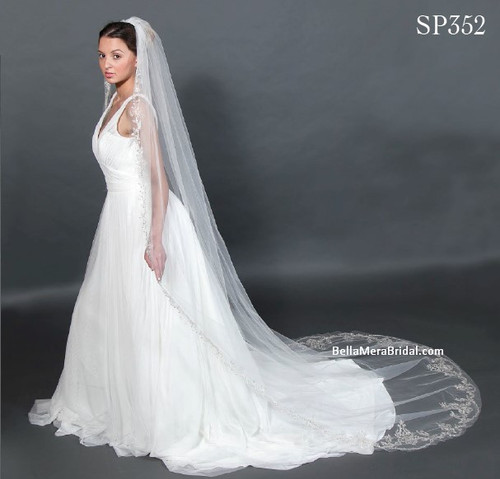 """Giselle Bridal Veil Style SP352 - Floral Embroidery Lace - 108"""" Long"""