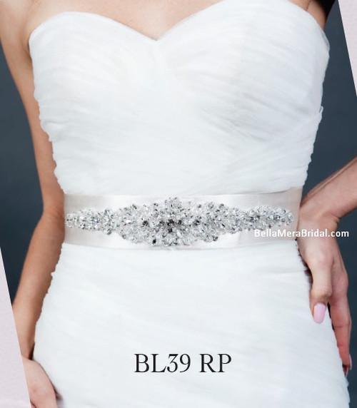 Giselle Bridal Belt BL39 - Satin Sash with Beaded Embellishment