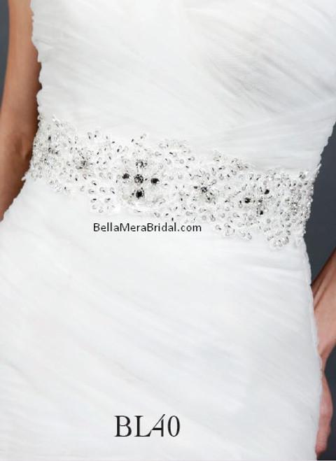 Giselle Bridal Belt BL40 - Satin Sash with Beaded Embellishment