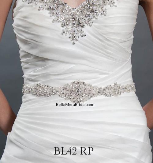 Giselle Bridal Belt BL42RP - Satin Sash with Beaded Embellishment