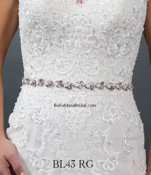 Giselle Bridal Belt BL43RG - Satin Sash with Beaded Embellishment