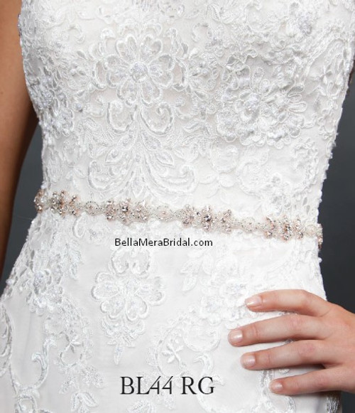 Giselle Bridal Belt BL44 RG - Satin Sash with Beaded Embellishment