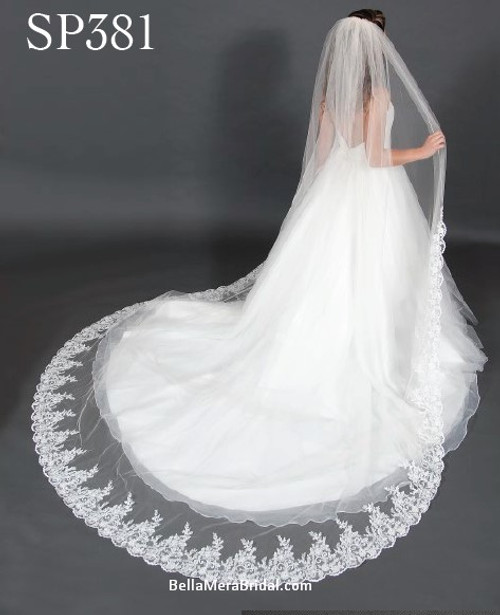 "Giselle Bridal Veil Style SP381 - Sequins Beaded Alencon Lace - 120"" Long"