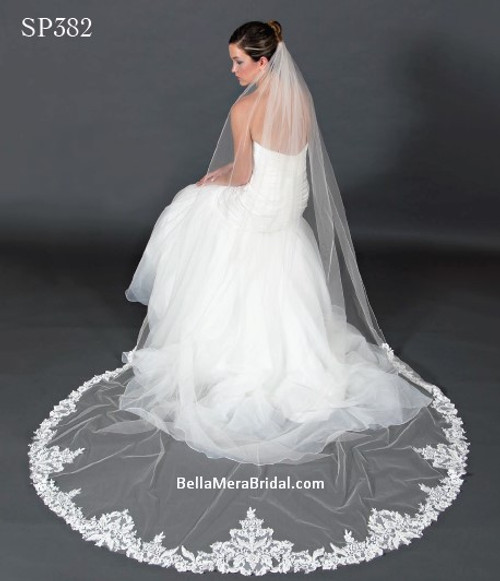 """Giselle Bridal Veil Style SP382 - Sequins Beaded Floral Lace - 108"""" Long"""
