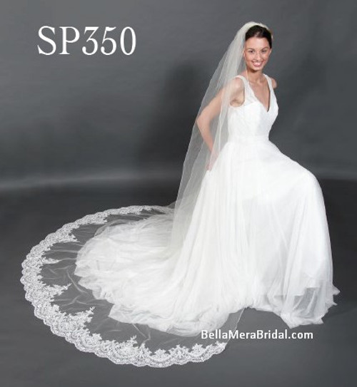 "Giselle Bridal Veil Style SP350 - Unbeaded Alencon Lace - 108"" Long"