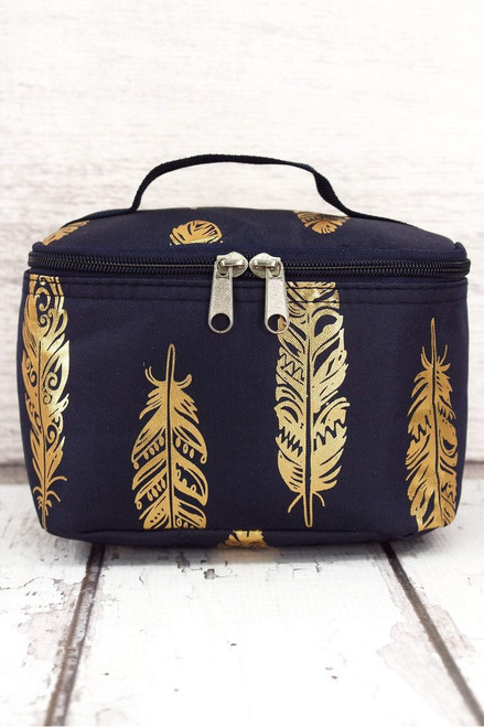 Navy Feather Small Carrying Bag - Cosmetic Bag