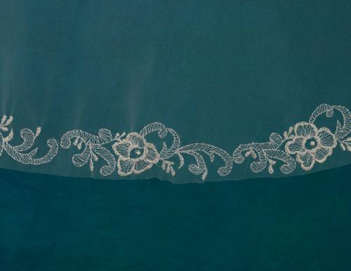 "Marionat Bridal Veils 3722 - 54"" Silver embroidered veil - The Bridal Veil Company"
