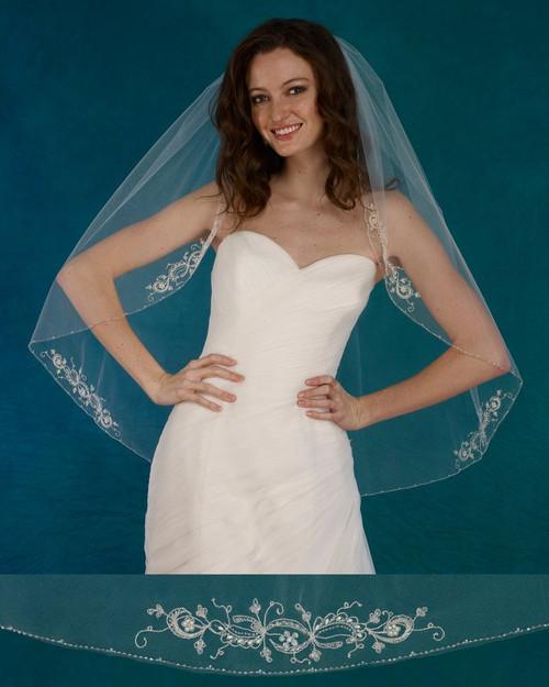 "Marionat Bridal Veils 3724 - 36"" Beaded embroidered appliques (5) - The Bridal Veil Company"
