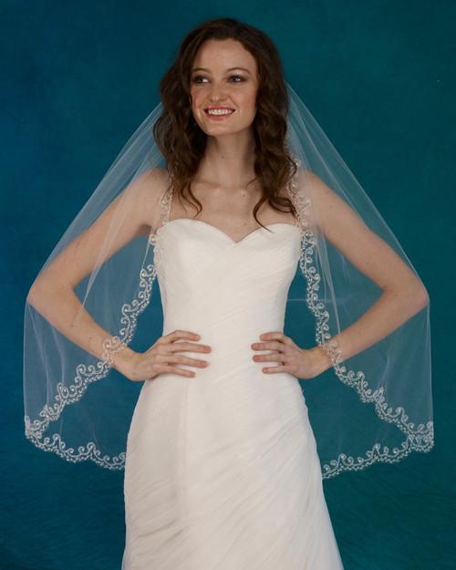 """Marionat Bridal Veils 3726 - 36"""" scallop beaded design - The Bridal Veil Company"""
