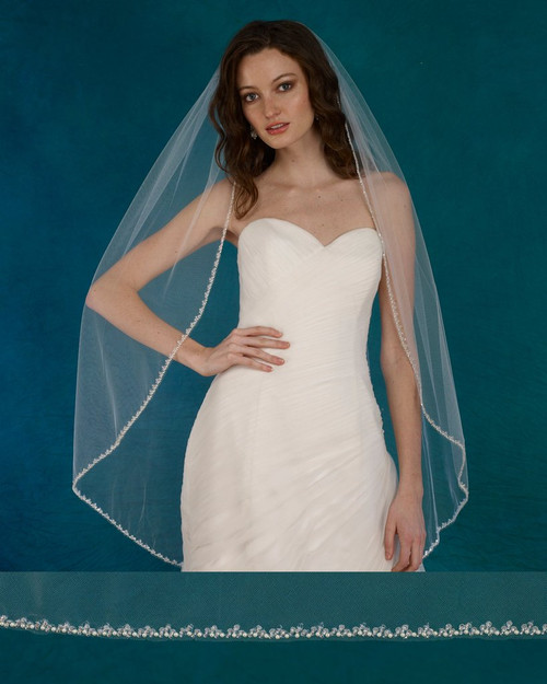 """Marionat Bridal Veils 3729 - 42"""" Beaded pearl edge with sequins - The Bridal Veil Company"""