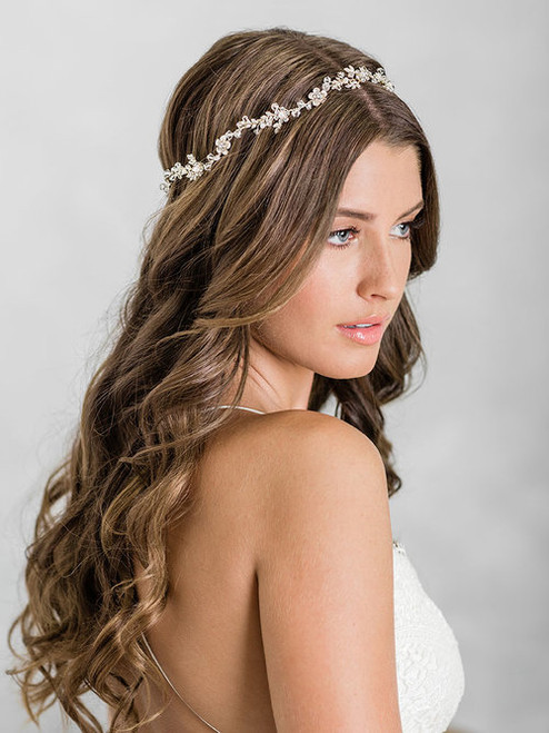 Bel Aire Bridal 6930 - Charming headband of dainty flowers and leaves accented with crystals