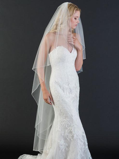 Bel Aire Bridal Veils V7468 - 1-tier waltz length cascade veil with edge of sparkling crystals