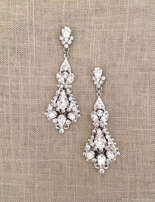 Bel Aire Bridal Earrings EA255 - Vintage-inspired drop earrings