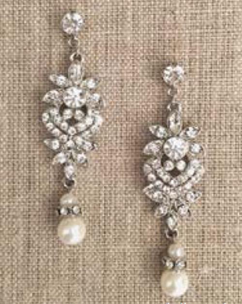 Bel Aire Bridal Earrings EA271 - Rhinestone drop earrings