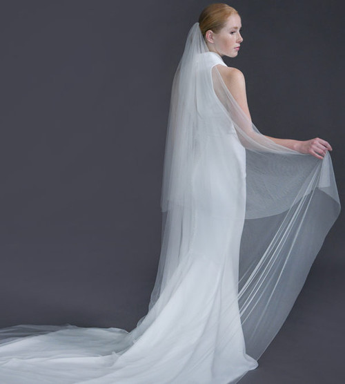 "Erica Koesler Wedding Veil 939-110 - (110"" inches long) - English net, cut edge on a silver comb"