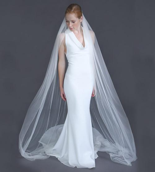 "Erica Koesler Wedding Veil 940-110 - (110"" inches long) - English net, single tier, silver comb"