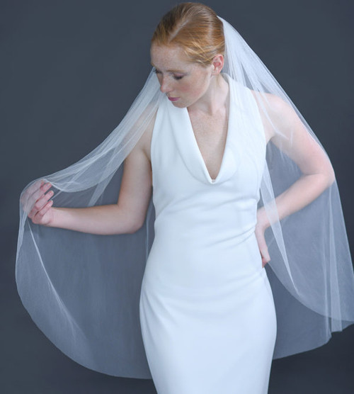 """Erica Koesler Wedding Veil 948-40 - (40"""" inches long) - English net on a silver comb"""