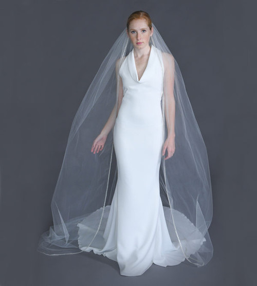"""Erica Koesler Wedding Veil 955-100 - (100"""" inches long) - Edge of pearls, rhinestones on a silver comb"""