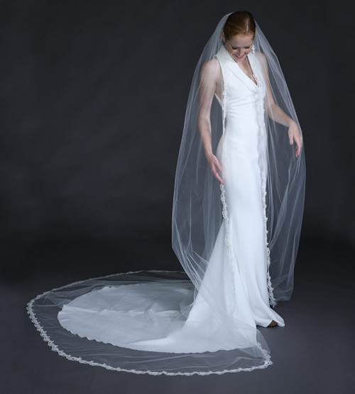 """Erica Koesler Wedding Veil 958-120 - (120"""" inches long) - Cotton Chantilly lace & cut edge wire comb"""
