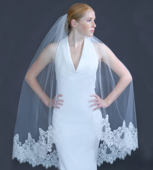 "Erica Koesler Wedding Veil 959-45 - (45"" inches long) - Cotton Chantilly lace & cut edge wire comb"