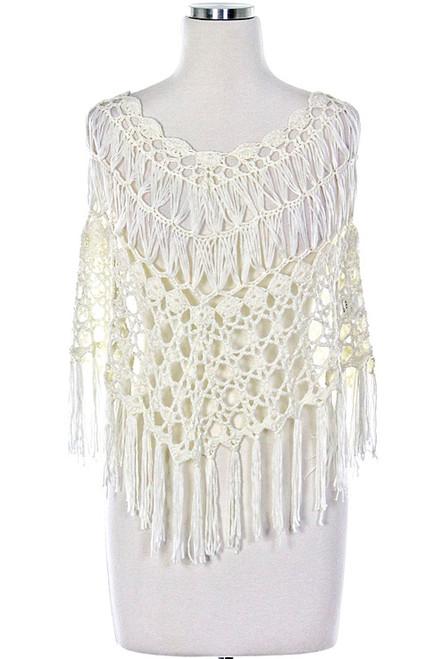 White Wedding Crochet Poncho Wrap with fringes