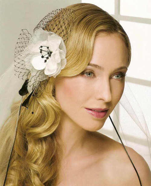 Bel Aire Bridal  Headpiece 6233 - Organza Flower with French Net
