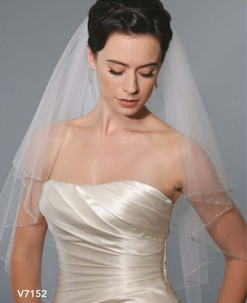 Bel Aire Bridal Wedding Veil V7152C - One Tier Cathedral Wedding Veil  w/ Silver Beaded Edge