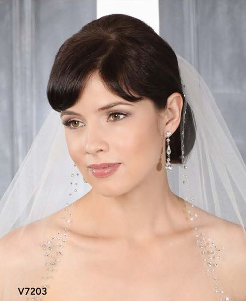 Bel Aire Bridal Wedding Veil V7203C - One Tier Cathedral Wedding Veil  Cut Edge w/ Rhinestones