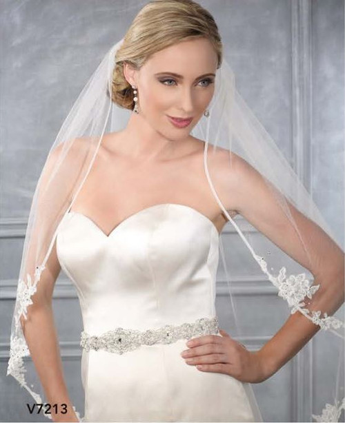 Bel Aire Bridal  Style V7213  - One Tier Fingertip Bias Organza Edge w/ Lace