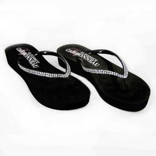 0ba9890e01e EBC. Sunshine ~ Low Heel Black Wedge Flip Flops with Crystal Straps