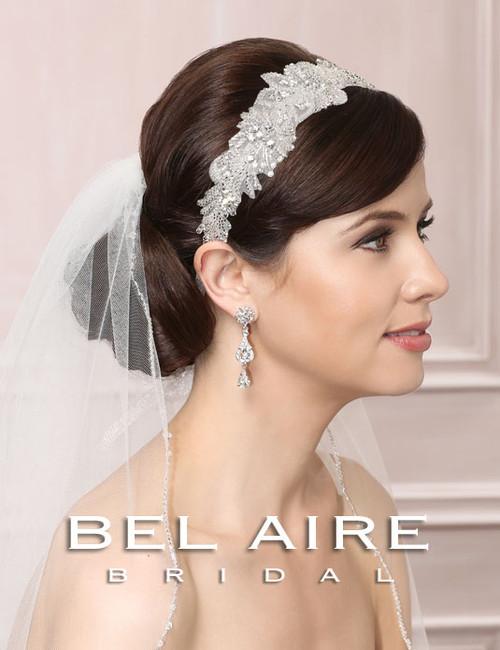 Bel Aire Bridal  Headpiece 6471 Beaded Tie Headband