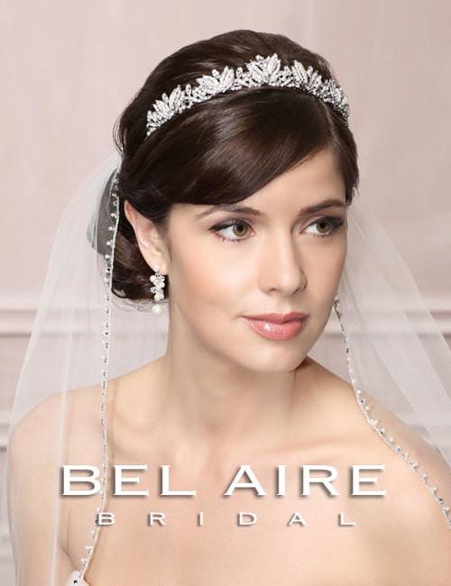 """Bel Aire Bridal  Headpiece 6491 - """"Vintage"""" Rhinestone & Pearl Tiara"""