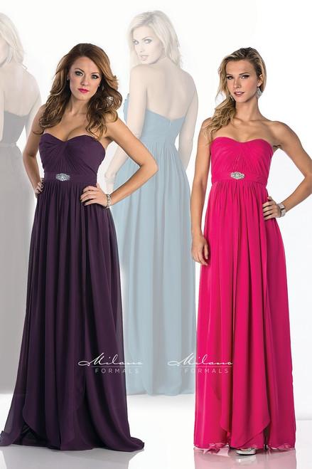 Milano Formals E1582 - Long Strapless Neckline Chiffon Bridesmaid Dress