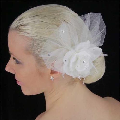 LC Bridal Hair Accessories Style 1721 - Organza Flower w/ Rhinestone & Crystal