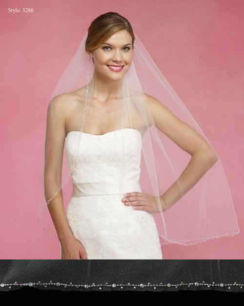 Marionat Bridal Veils 3286- The Bridal Veil Company - Silver Beaded Crystal Edge