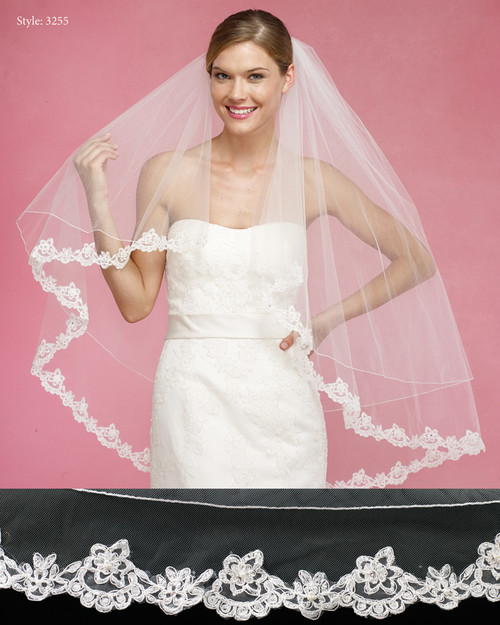 Marionat Bridal Veils 3255- The Bridal Veil Company - Rolled Edge Top Tier Lace Edge Bottom Tier