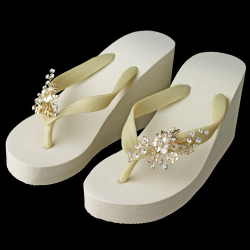301fbd71bc0 Pearl Floral Light Gold Vine High Wedge Flip Flops