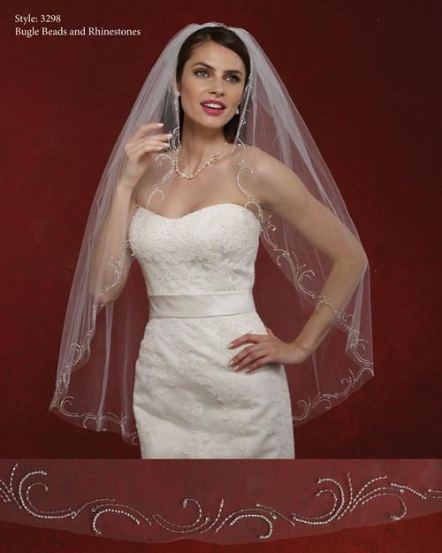 Marionat Bridal Veils 3298- The Bridal Veil Company - Rhinestone Edge Veil