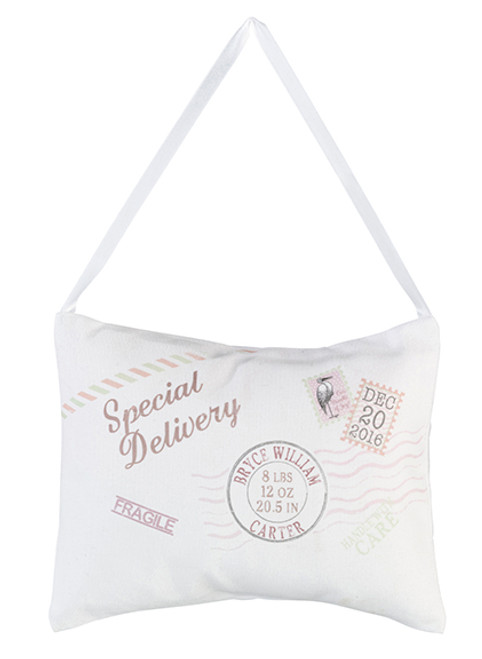 "Personalized Tan ""Speical Delivery"" Pillow - Lillian Rose"