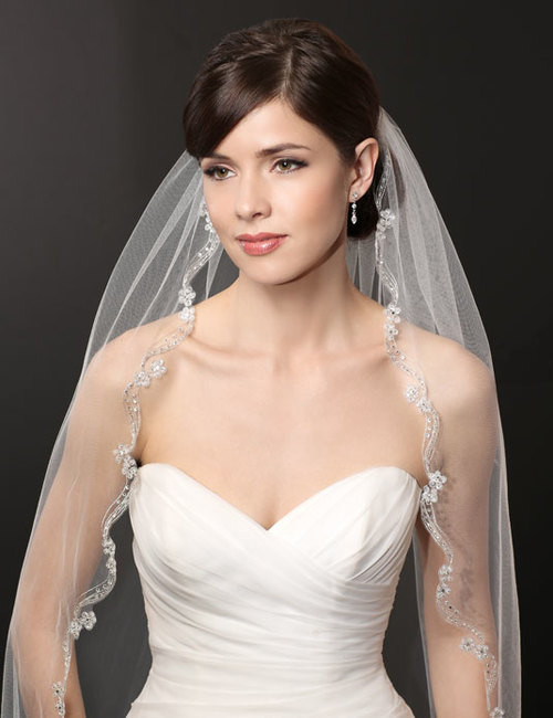 Bel Aire Bridal Wedding Veil V7222 - One Tier FT with Curved Embroidered Edge & Sequin Flowers