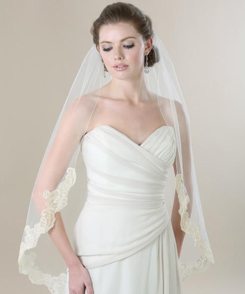 Bel Aire Bridal Wedding Veil V7270 - Metallic Rolled Edge