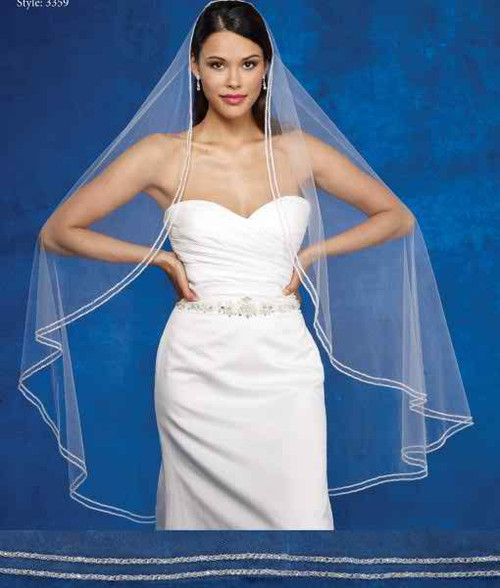 Marionat Bridal Veils 3359- The Bridal Veil Company - Double Row Rhinestone Veil