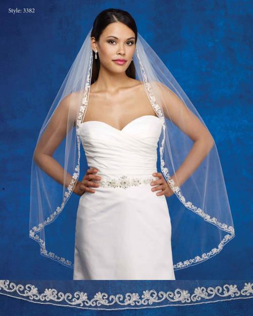Marionat Bridal Veils 3382- The Bridal Veil Company - Beaded Embroidered Design