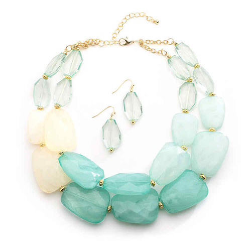 Mariell Bridals Mint Pastels Chunky Statement Necklace & Earrings 4112S