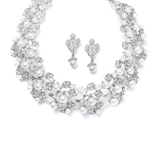 Mariell Bridals Bold Pearl Vine Wedding Choker Necklace Set 440S-W