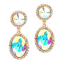 Mariell  Bold Iridescent Oval Drop Earrings with Rivoli Studs 4521E-AB-G