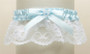 White Lace Something Blue Wedding Garter with Pearl Heart 3768G-W-BL